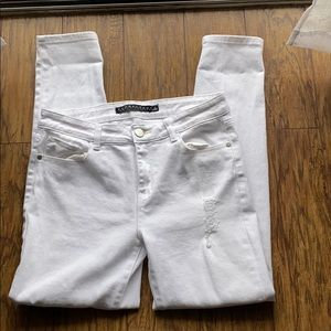 Tinseltown denim couture distressed white jeans 11